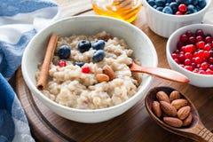 燕麦粥粥用莓果、桂香和蜂蜜 平衡的膳食 库存照片