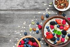 燕麦粥粥用莓果和坚果在碗 库存照片