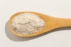 燕麦谷粒 在一把木匙子的滋补五谷在白色b 库存图片