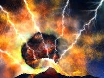 爆发火山年轻人 免版税库存图片
