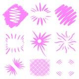 爆炸传染媒介 在白色背景的手拉的太阳爆炸 霓虹桃红色几何形状 商标文本的独特 设计grunge 库存例证