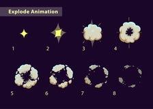 爆炸作用动画 向量例证