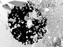 爆炸有破裂的孔的打破的白色墙壁 抽象backgrou 免版税库存图片