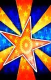 爆炸橙色海报星形 免版税库存图片