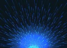 爆炸的星在事件海报的空间向量摘要蓝色背景中 库存例证