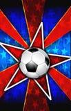 爆炸红色足球明星 库存照片