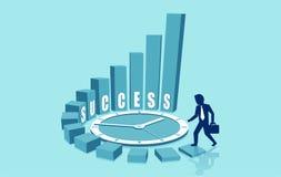 爬上成功楼梯的商人的传染媒介改进与时间的技能 库存例证