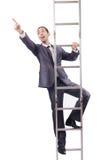 爬梯子的生意人 图库摄影