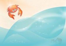 爬行到海的螃蟹 免版税库存照片