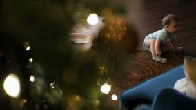 爬行在与礼物的圣诞树附近的小女婴 股票视频