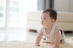 爬行在地毯的男婴 免版税库存照片