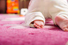 爬行在桃红色地毯的婴孩 免版税图库摄影