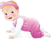 爬行的女婴微笑和,被隔绝 免版税库存图片