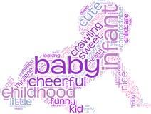 爬行的婴孩标记云彩 免版税库存照片