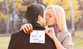 爱、关系、订婚和婚礼概念-提案 免版税库存图片