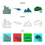 爱丁堡城堡,尼斯湖妖怪, Grampian山,全国盖帽斜纹呢衬, tam o shanter 苏格兰集合收藏 向量例证
