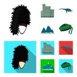 爱丁堡城堡,尼斯湖妖怪, Grampian山,全国盖帽斜纹呢衬, tam shanter 苏格兰集合收藏 皇族释放例证