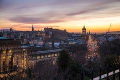 爱丁堡看法从Calton小山的,日落 免版税库存照片