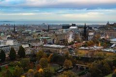 爱丁堡苏格兰和Pinces街庭院看法  库存图片
