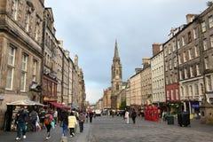 爱丁堡苏格兰- 8月29日:城市(皇家英里) 2013年8月30的爱丁堡风景日在爱丁堡苏格兰 图库摄影
