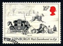 爱丁堡邮件被雪包围住的英国邮票 免版税库存图片