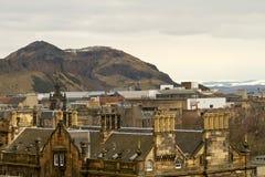 爱丁堡,苏格兰-大约2013年3月:从爱丁堡城堡外部的一个看法  免版税库存照片