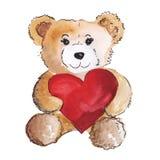 爱上大红色心脏的逗人喜爱的玩具熊 皇族释放例证