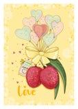 爱上心脏形状气球的荔枝 库存照片