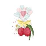 爱上心脏形状气球的荔枝 免版税库存照片