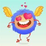 爱上的逗人喜爱的动画片妖怪桃红色心形的眼睛 祝贺例证明信片浪漫向量 免版税库存图片
