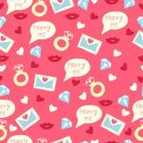 爱与信件、圆环、嘴唇、金刚石和心脏的样式 日愉快的s华伦泰 背景看板卡问候页模板通用万维网婚礼 库存照片