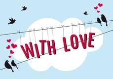 爱与在蓝天,传染媒介的鸟 免版税库存照片