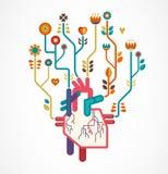 爱与心脏和花,华伦泰的背景 免版税库存图片