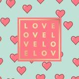 爱与心脏样式的贺卡 免版税图库摄影