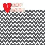 爱与心脏的卡片在现代V形臂章背景 免版税库存照片