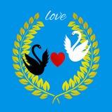 爱与心脏的在蓝色的贺卡和天鹅 免版税库存图片