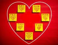 爱与心脏的贴纸所有星期 向量例证