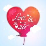 爱与气球的文本华伦泰` s天庆祝的 库存图片