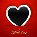 爱与空白的照片框架的卡片模板在红色背景 库存图片