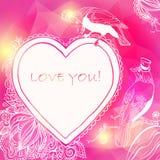 爱与鸟和花的心脏卡片。传染媒介例证,能 库存图片