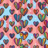 爱五颜六色的图画垂直的云彩桃红色无缝的样式 库存例证