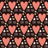 爱人现出轮廓主题妇女 心脏和花手工制造无缝的样式backgro 免版税库存照片