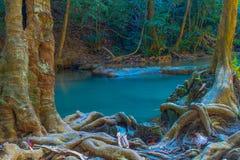 爱侣湾瀑布美丽的北碧,泰国 免版税库存照片