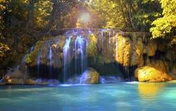 爱侣湾瀑布,五颜六色的花北碧,泰国 库存照片