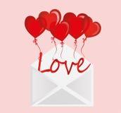 爱信件在球的以心脏的形式飞行在信封外面 库存照片