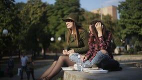 爱午餐三明治的两个女孩在公园和谈话 都市野餐在公园 假日三明治 股票视频