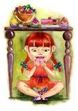 爱吃甜品的胃口 库存照片