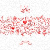 爱和心脏乱画 免版税库存图片