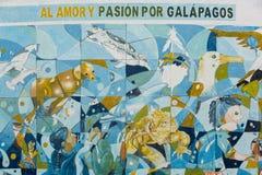 爱和激情加拉帕戈斯的 墙壁上的艺术品在Puerto阿约鲁 免版税图库摄影