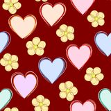 爱和花抽象无缝的背景 库存图片